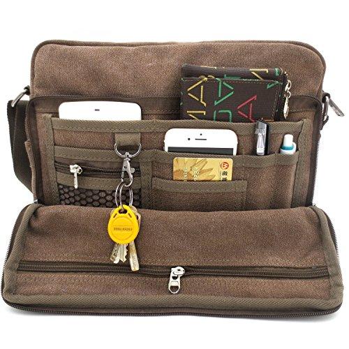 MiCoolker Messenger Bag for Women, Multifunction Versatile Canvas Messenger Bag Handbag Crossbody Shoulder Bag for Tablet Travel Purse Tons of Pockets Coffee
