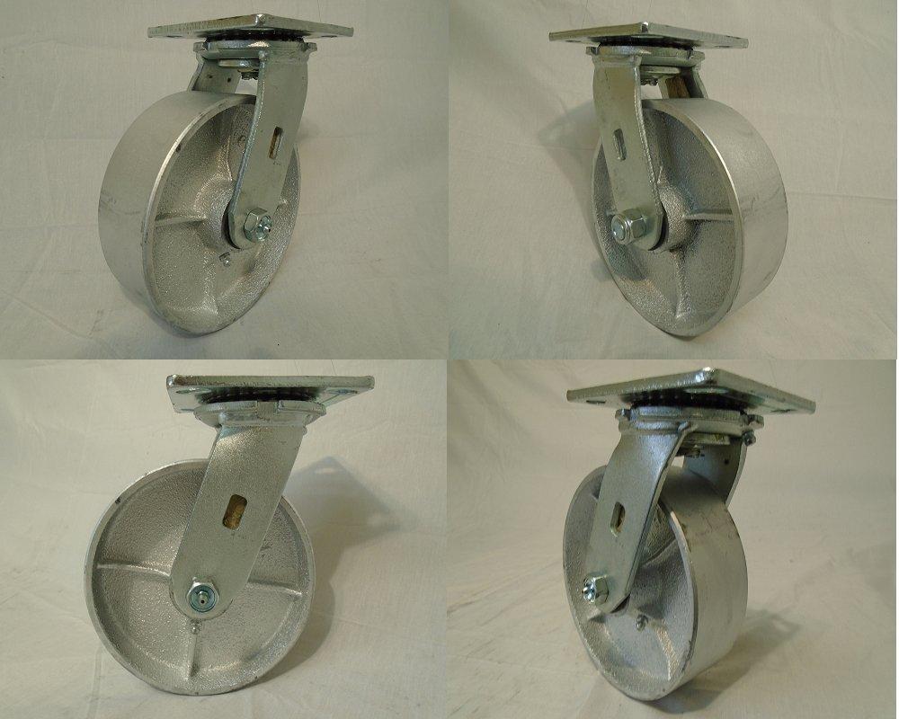 6'' X 2'' Swivel Casters with Heavy Duty Semi-steel Wheel (4) 1200lb Each - Tool Box
