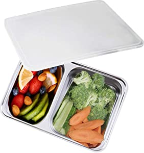 AIYoo Bento Box 2 Compartments Stainless Steel Lunch Box for Adults and Kids - Divided Food Meal Prep Containers with Lid - BPA Free,Dishwasher Safe