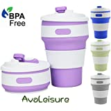 AVALEISURE Collapsible Coffee Mug - a Foldable 12oz Drinking Cup with Lid for Water, Coffee, Tea & Soft Drinks. Ideal for Camping, Travel, Picnic, Lunch, Commuters