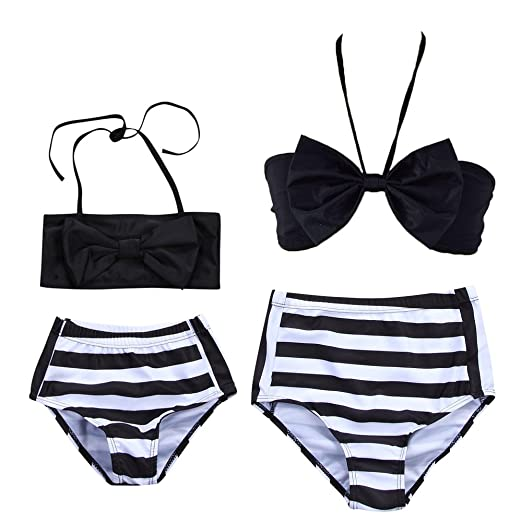 0128b5fbf40 Amazon.com: Fashion Mather Daughter High Waist Halter Two Piece Bikini Set  Stripe Print Swimsuit Family Matching Swimwear: Clothing