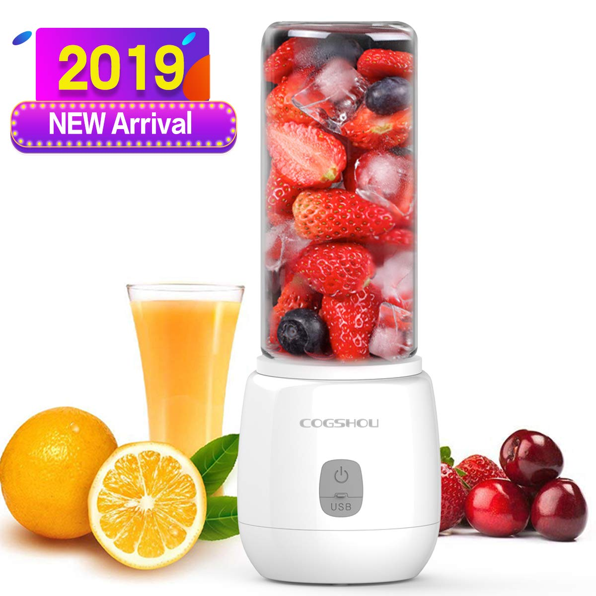 Travel Glass Blender Great for Sports Office Gym,Drive FDA, BPA Free Portable Smoothie Blender- 200W Personal Blender with Six Blades in 3D 15oz Mini Mixer Juicer Cup with USB Rechargeable