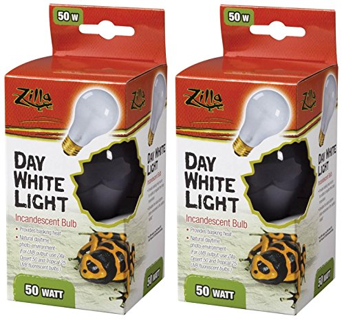 Zilla Incandescent Light and Heat Bulb, Day White, 50 Watts (2 Pack)
