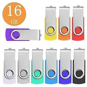 Memoria USB 16GB Pendrives 10 Piezas, Metal Llavero Memoria Memoria Externo Stick 16 Giga USB 2.0 Pen Drive - Almacenamiento de Datos Externo (10 ...