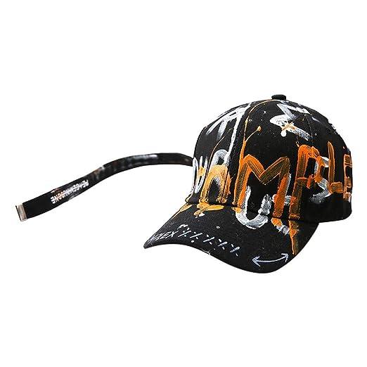 36e33c0ed5c02 Amazon.com  Men Women Graffiti Baseball Cap Novelty Cool Outdoor Trucker  Visor Caps Hat Stylish (Black)  Clothing