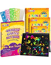 pigipigi Gifts for 3-12 Year Old Girls Boys - 3 Pack Rainbow Scratch Off Notebooks