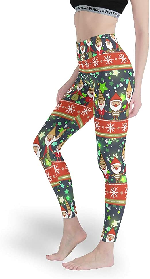 Qunrontan WeihnachtszwergeDamen Soft Leggings Ganzkörper
