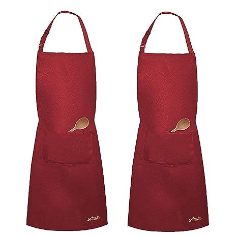 Grembiule Da Cucina Uomo.Viedouce 2 Pezzi Grembiule Da Cucina Chef Grembiule Da Ristorante Bbq Bar Chef Cucina Regolabile Grembiuli Con Tasche Chef Di