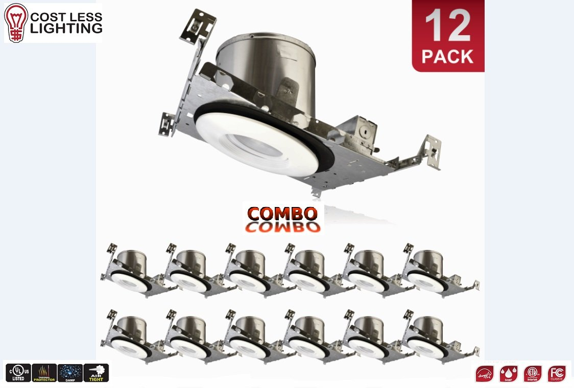Cost Less Lighting - 12 PACK - COMBO - 6'' Inch LED Sloped Recessed Ceiling Gimbal Trim AND Can Housing - New Work - Construction - IC Rated Safe for Insulation (4000 Kelvin (Cool White))