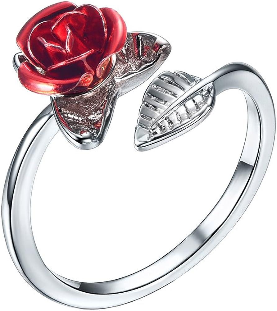 U7 Rose Ring for Women Girls Platinum 18K Gold or 925 Sterling Silver Cute Leaf Red Rose Flower Ring, Wrap Ring, Stacking Ring, Adjustable Size 5-12