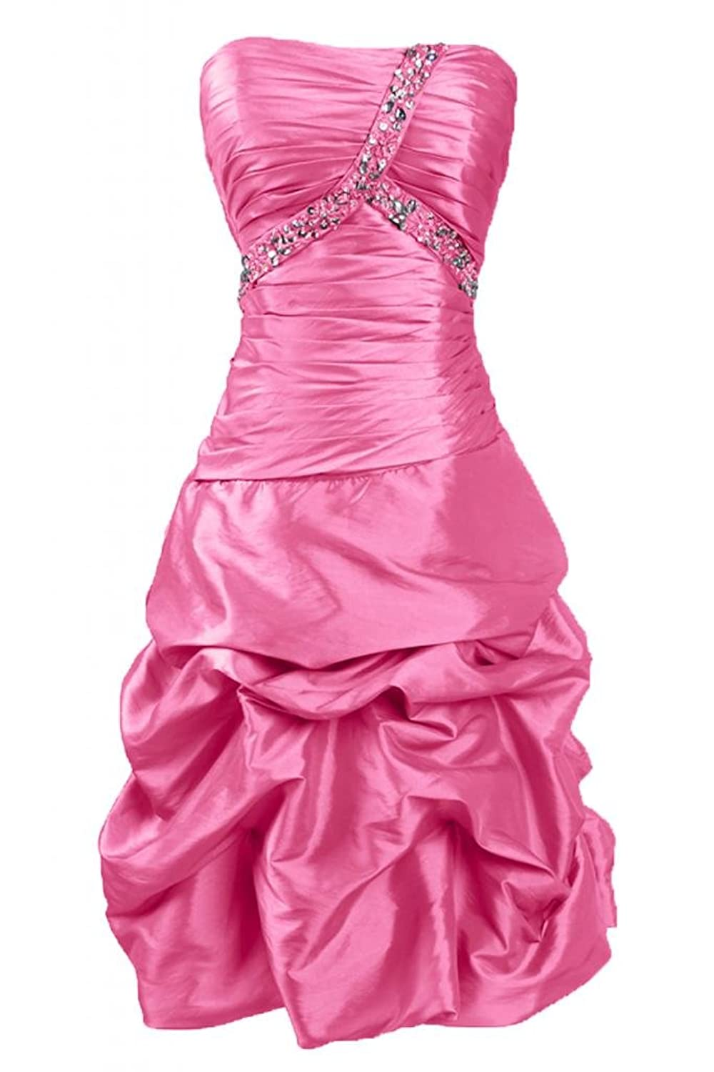 Sunvary Sexy A Line Taffeta Cocktail Party Dresses Strapless Short Homecoming Dresses