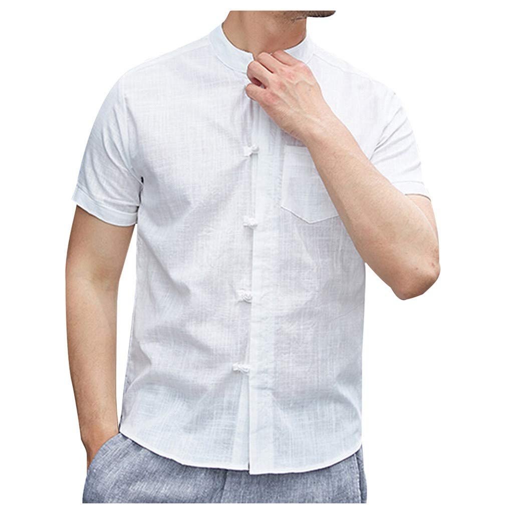 Mens Pocket Casual Cotton Short Sleeves Gray,XL Sharemen Summer Fashion Solid Color Shirt Single-Breasted Shirt