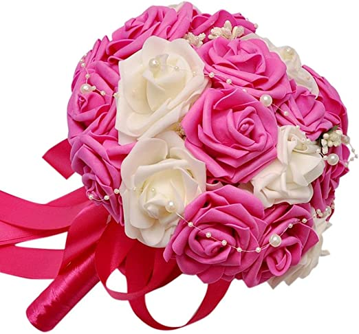 Wedding Crystal Bouquet Bridal Bridesmaid Artificial Foam Rose Flower Hot Sale