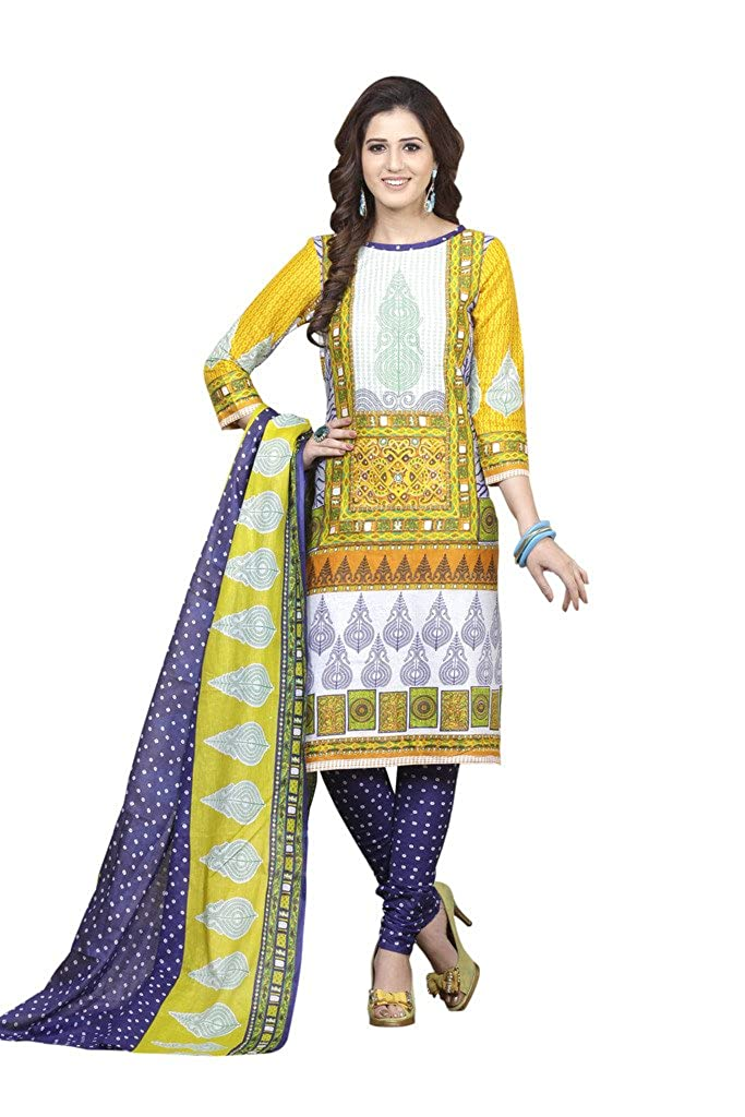 a431d69f3d9af Dress material yellow blue Cotton Printed Salwar Suits Churidar material:  Amazon.in: Clothing & Accessories