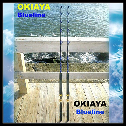 OKIAYA COMPOSIT 50-80LB Blueline Series Saltwater Big Game Roller Rod Set of 2