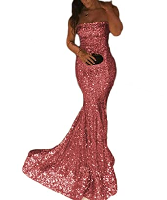 TulBridal Women\'s Pink Sequins Mermaid Prom Dresses Long Evening ...