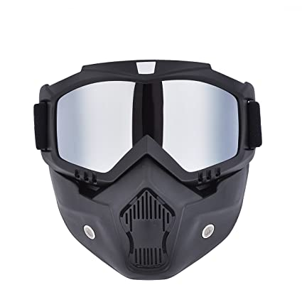 CHCYCLE motorcycle motocross face mask with detachable Goggles(silver)