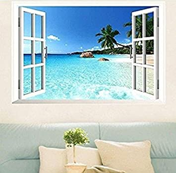 Amazoncom Large Removable Beach Sea 3D Window Decal WALL STICKER