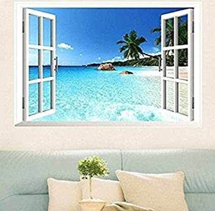 Amazon Com Large Removable Beach Sea 3d Window Decal Wall Sticker
