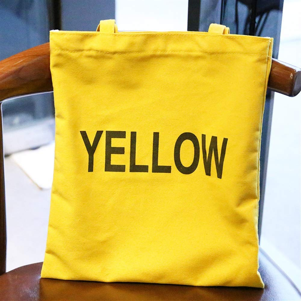 WHXYAA Letter Printed Canvas Bag Shoulder Bag Tote Bag Ladies Large-Capacity Shopping Bag (Yellow) Simple Atmosphere