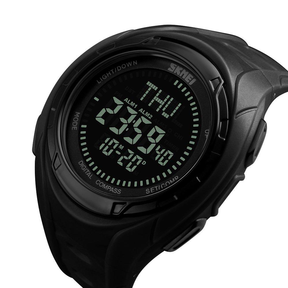 De los hombres de los relojes digitales con cronógrafo hora mundial brújula cuenta atrás cronómetro impermeable cuarzo reloj de pulsera deportivo: ...