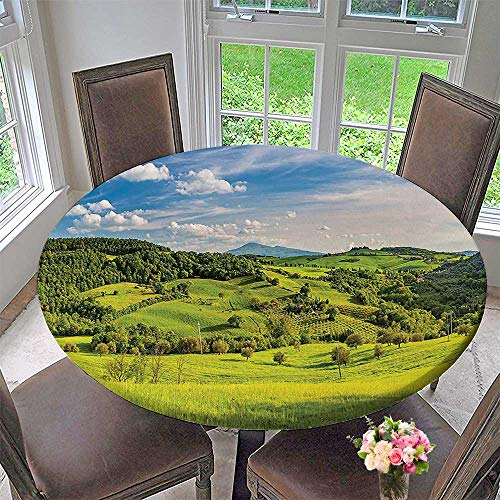 Mikihome Modern Simple Round Tablecloth Tuscany Italy Sunlight Homestead Plantation s Pathway Greenery Decoration Washable 47.5