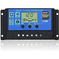 DOKIO 10A 12V 24V controlador de carga solar inteligente regulador de carga con doble salida USB 5V para batería de panel solar