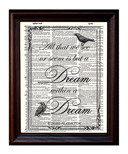 Dictionary Art Print - Edgar Allan Poe Quote Printed on Recycled Vintage Dictionary Paper - 8x11 - Mixed Media Poster on Vintage Dictionary Page