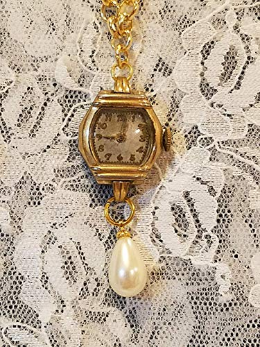 - Ladies Vintage Watch on Rolo Chain with Pearl Drop Goldtone