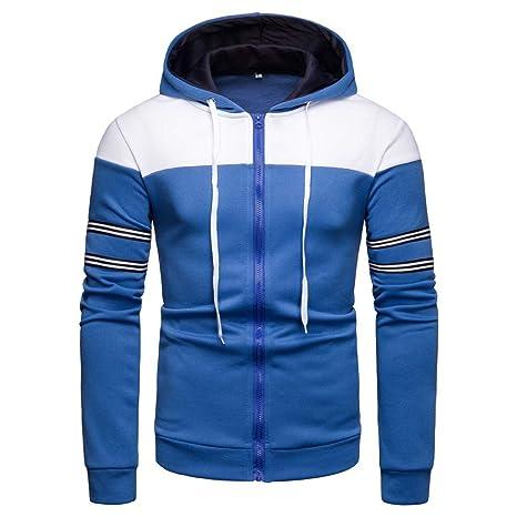 LuckyGirls Abrigos para Hombre Sudaderas con Capucha Deportivas Rayas Color de Mezcla Chaqueta Chándales (Azul