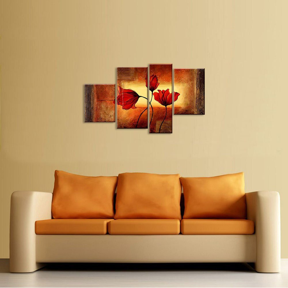 Amazon.com: Wieco Art 4 Piece Floral Oil Paintings on Canvas Wall ...