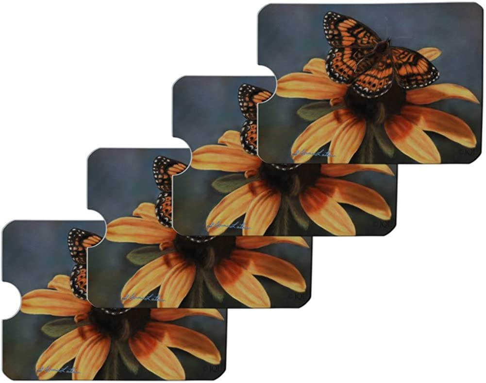 Pearl Crescent Butterfly on a Yellow Flower Credit Card RFID Blocker Holder Protector Wallet Purse Sleeves Set of 4