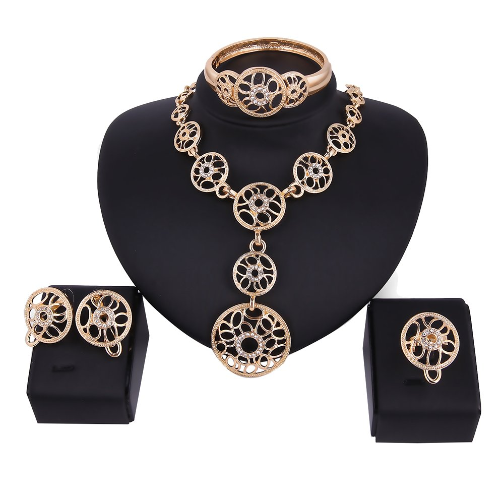 SEKAYISORE Women's Gold Plated Diamond African Jewelry Set Halloween Necklace Earrings Bracelet Ring Set