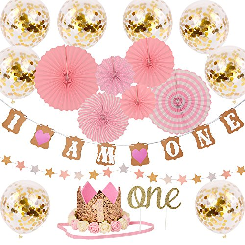 One Year Birthday Decorations Kit For Princess Baby Girl - 'I AM ONE' Banner | Golden Crown Hat | 'ONE' Cake Topper | Pink Hanging Paper Fan | Pink Paper Garland | 8 Ballon - 18 pcs Bundle -