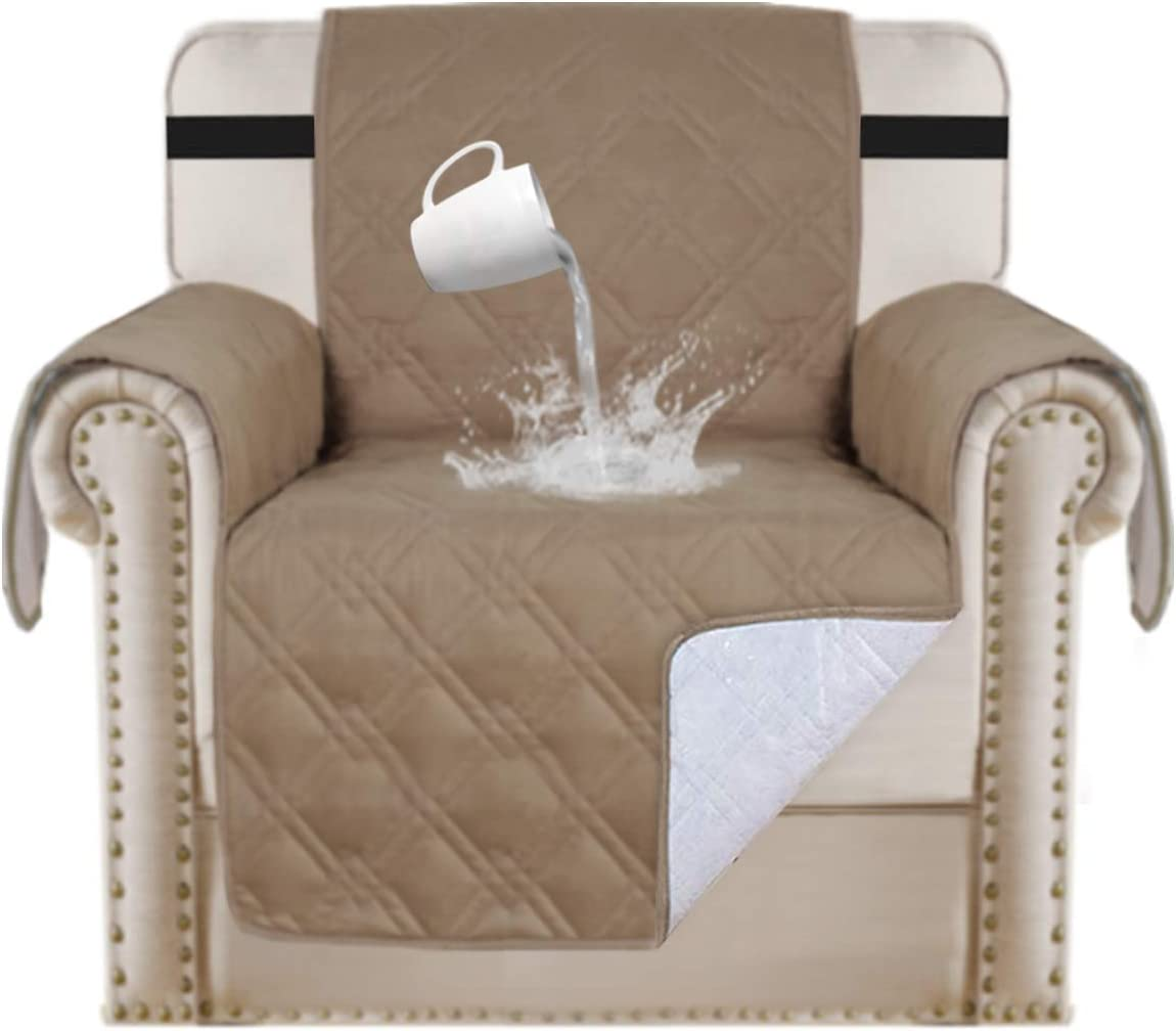 """100% Waterproof Pet Furniture Covers Couch Cover for Leather Recliner Chair Cover Luxurious Arm Chair Slipcover for Quilted Dog Sofa Cover Protector Non Slip Chair Shield (Chair 21"""", Taupe)"""