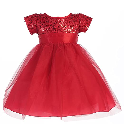 8d7b56ae969b Lito Little Girls Red Sequins Bodice Tulle Sparkly Christmas Dress 6