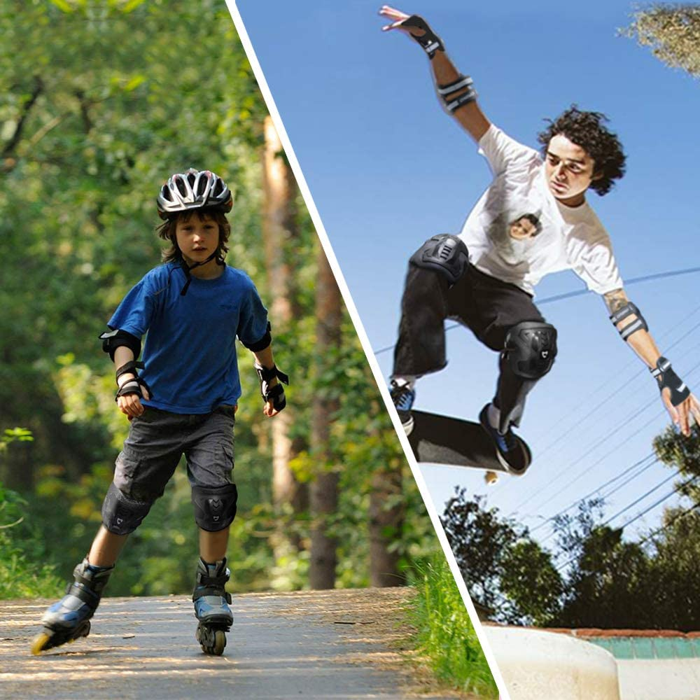 Knee Pads and Elbow Pads with Wrist Guards BMX Bike Inline Roller Skates Cycling Skateboard Inline Scooter Riding Sports 6 in 1 Protective Gear Set CrzKo Kids//Youth Protective Gear
