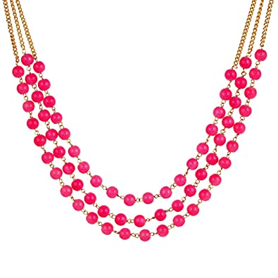 2f6eec31229a7 Buy saissa 3 Layer Pink Beads Necklace Earrings Jewellery Set for ...