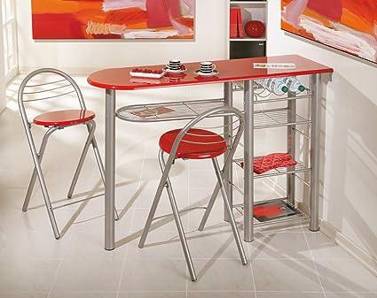 Set di 2 sgabelli e tavolo alta rosso design: amazon.it: casa e cucina