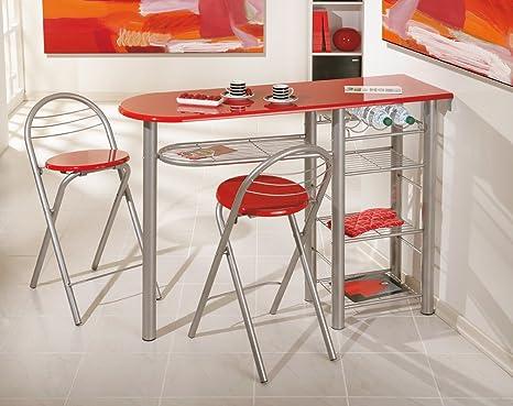 Set di sgabelli e tavolo alta rosso design amazon casa e cucina