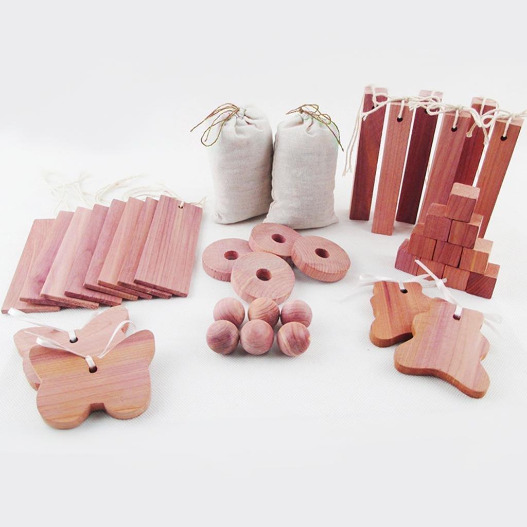 UNAKIM--40 Wood Camphor Repellent Wardrobes Cloth Drawers Cedar Moth Balls Set