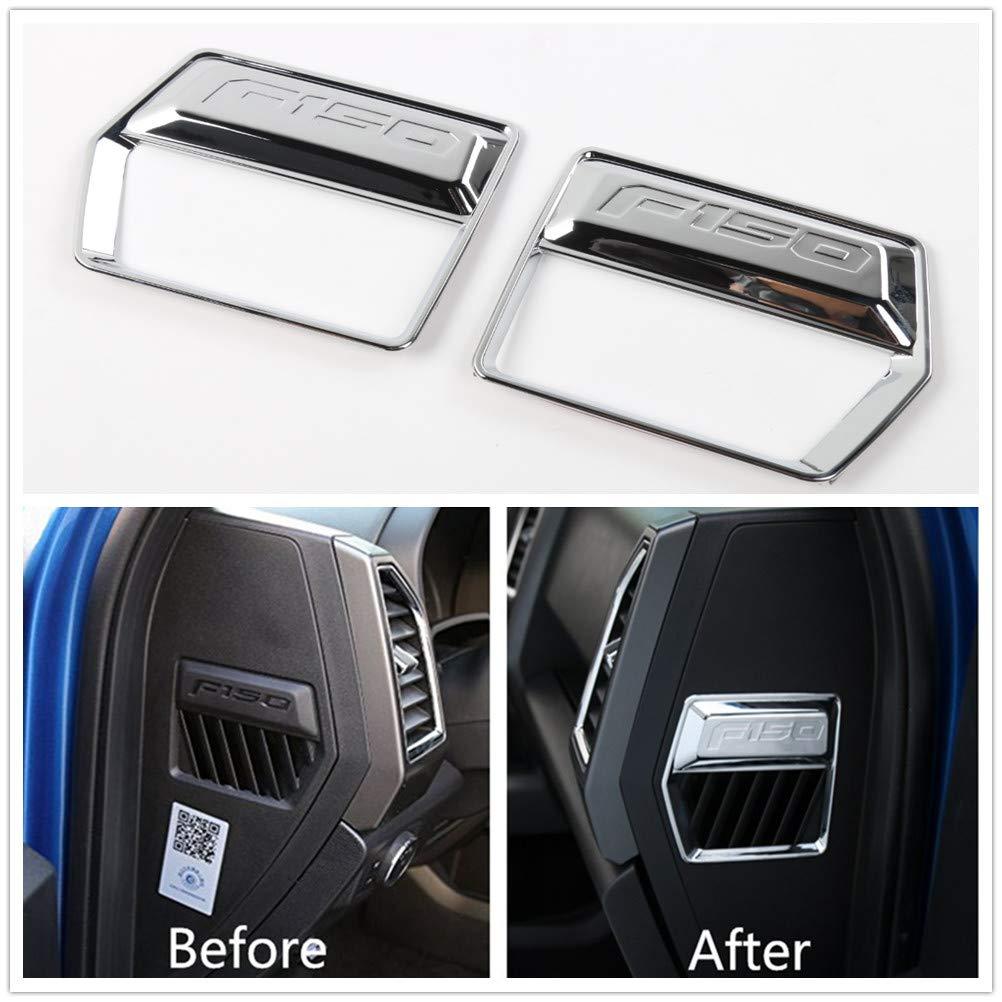 Aspeike 2PCS ABS Chrome Car Interior Side Air Outlet Vent Cover Frame Decor Trim for Ford F150 F-150 2015-2017