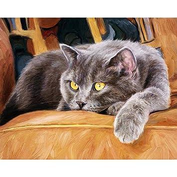 Fogun - Cuadro de pintura digital al óleo para gatos o gatos por número de lienzo para decoración del hogar, sin marco: Amazon.es: Hogar