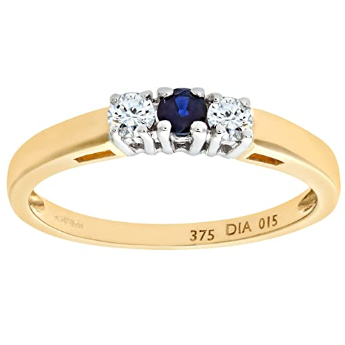 Naava Anillo para Mujer de Oro Amarillo 9K con 3 Diamantes y Zafiros talla 6.5