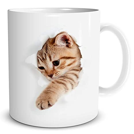 Taza de gato abriéndose paso, porcelana