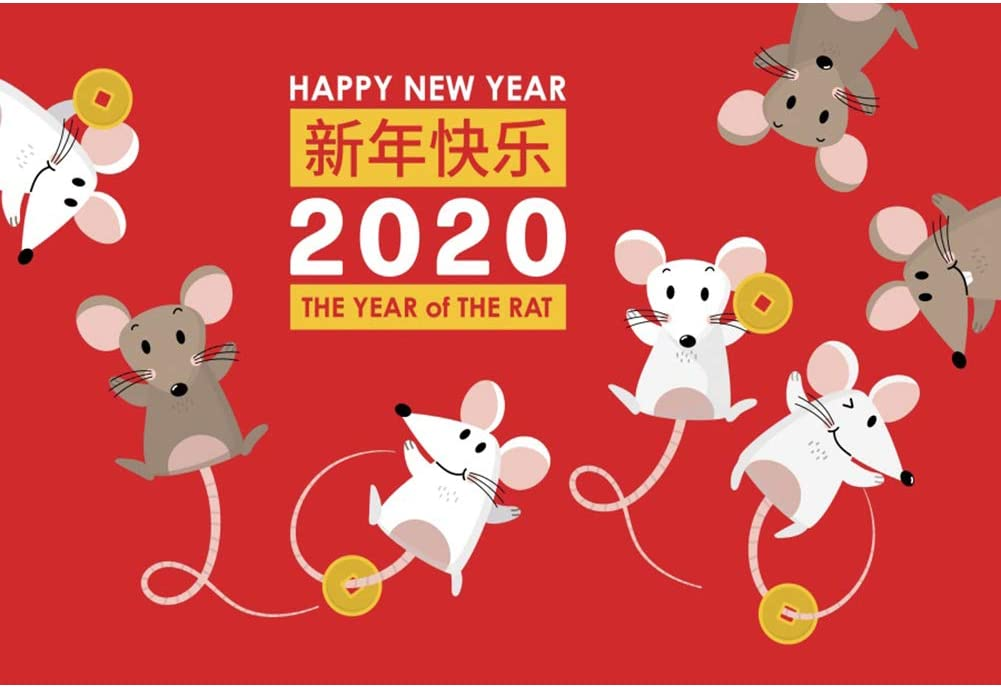YEELE 12x8ft Chinese New Year Backdrop Mouse Mice Copper Cash Year of The Rat Red and Gloden Photography Background 2020 Spring Festival Portrait Photo Booth Prop Digital Wallpaper