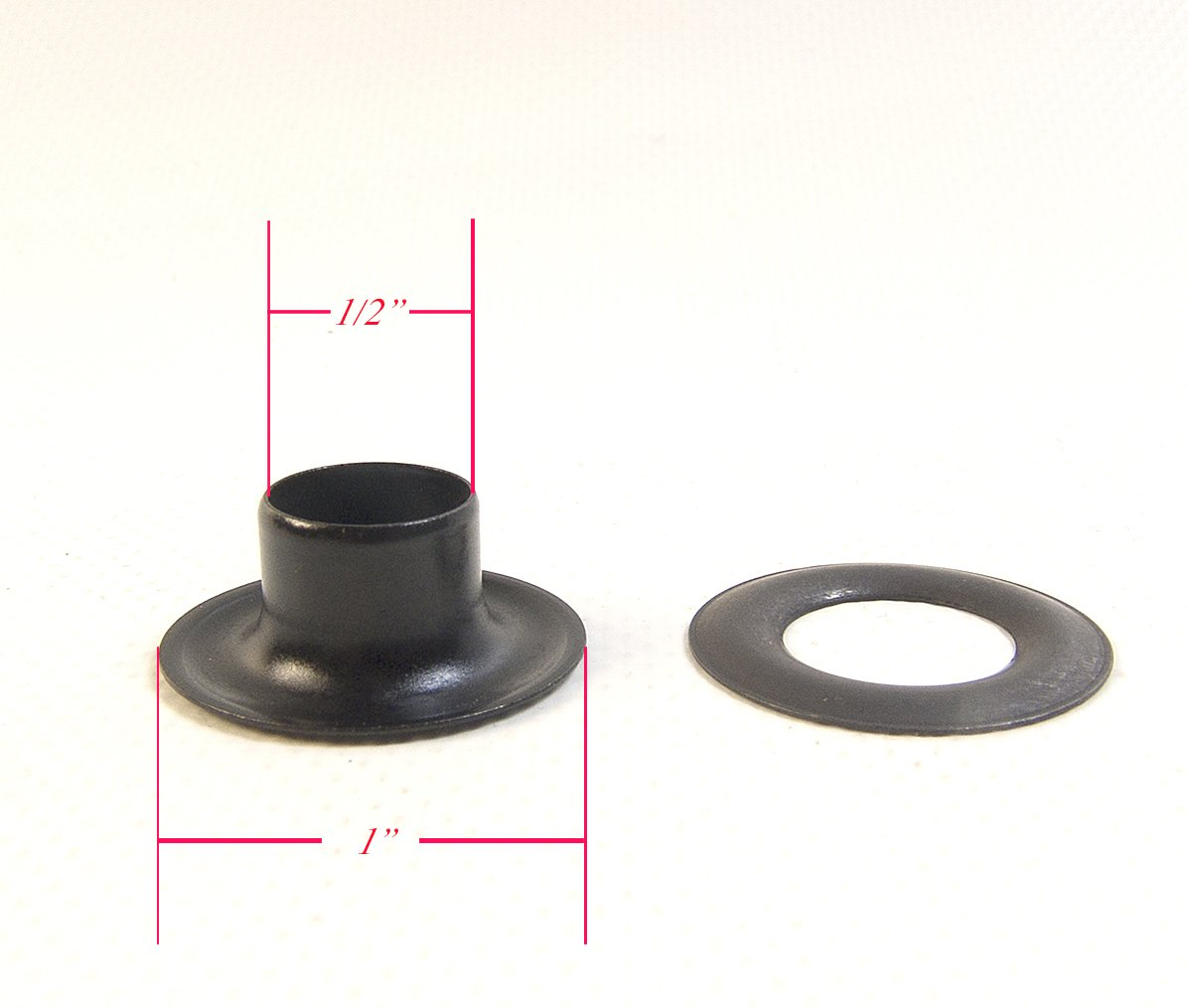 Grommets, Plain, Black Oxide, Setting Tool Also Available (#4 1/2'' inc Plain Grommets w/ Punch & Setting Tool)