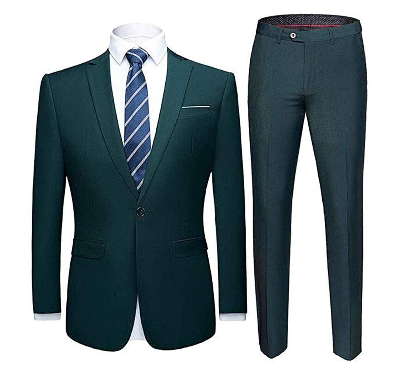 HSLS Mens Business Suit 2 Piece Slim Fit Wedding Suit for Men Groom Tuxedos Casual Suit