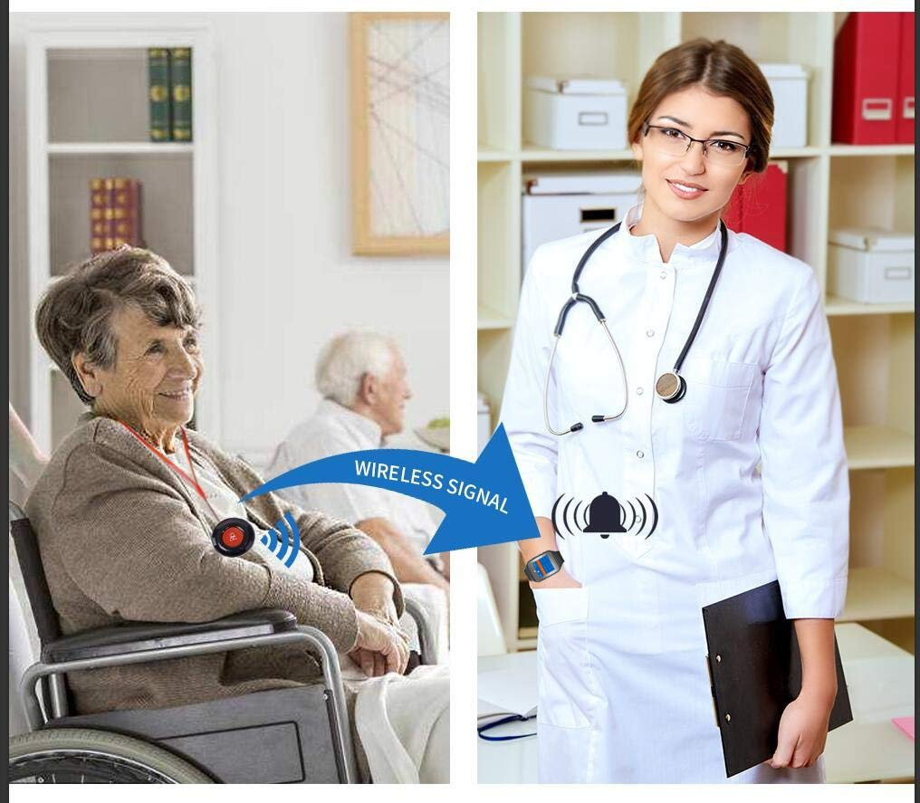 CallToU Caregiver Pager Wireless Smart Call Button Nurse Calling Alert Vibration for Elderly//Patient//Disable at Home 1 Receiver Wrist