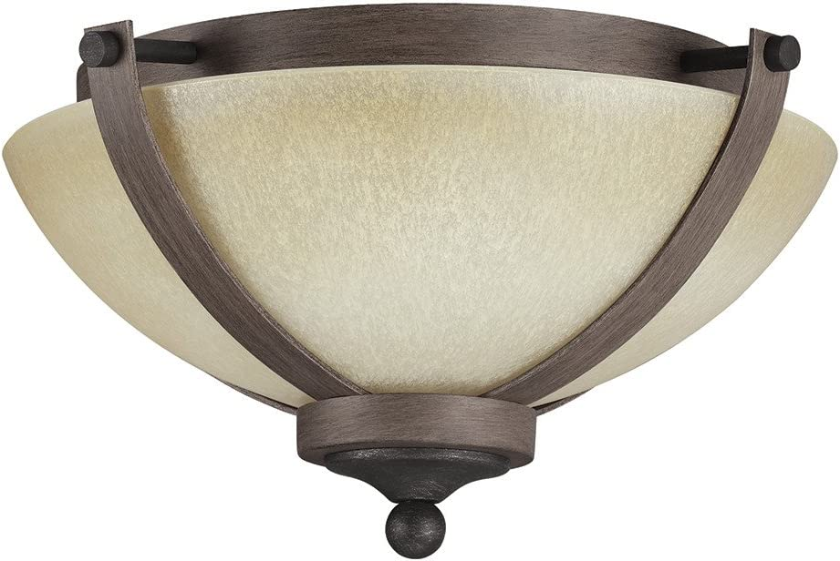 Stardust Finish Sea Gull Lighting 7580402-846 Corbeille Two-Light Flush Mount Ceiling Light with Creme Parchment Glass